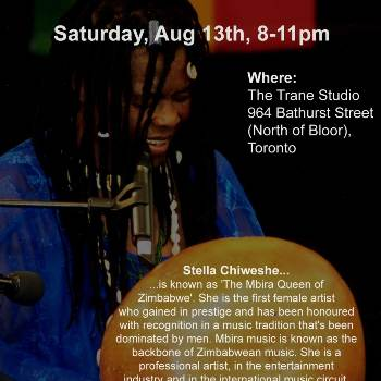 Stella Chiweshe in Toronto * Stella Chiweshe live at Caliban Arts Theatre